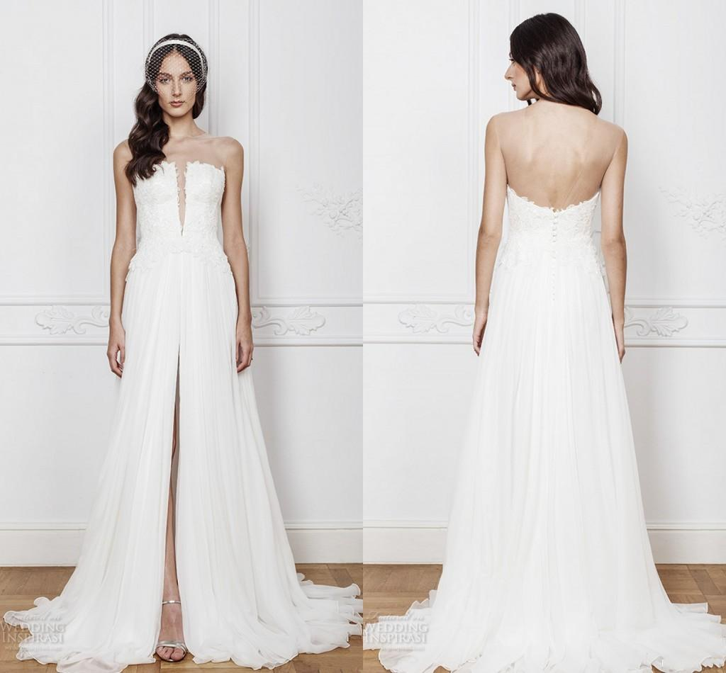 Simple Strapless Split Wedding Dresses 2016 White Lace
