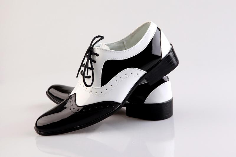 Black And White Stitching Groom Wedding Shoes Man Breathe Freely ...