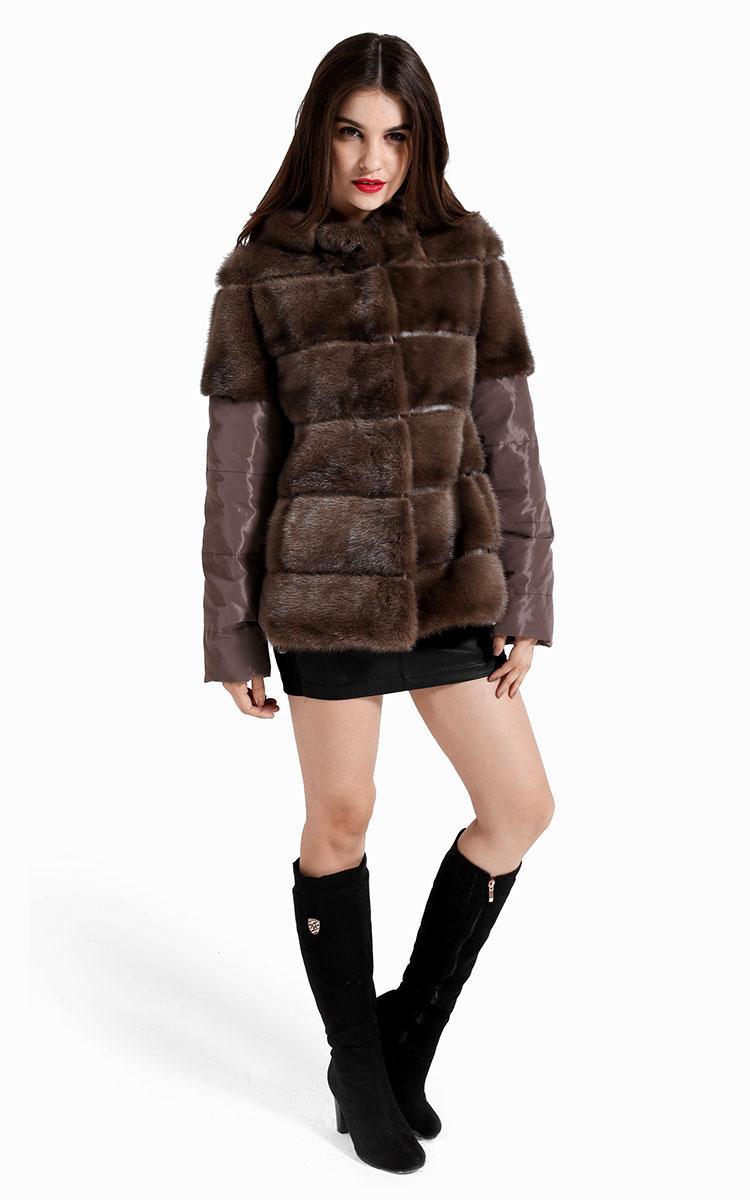 Cheap Hooded Down Fur Coat Splicing Best Women Mink Fur Khaki Luxury