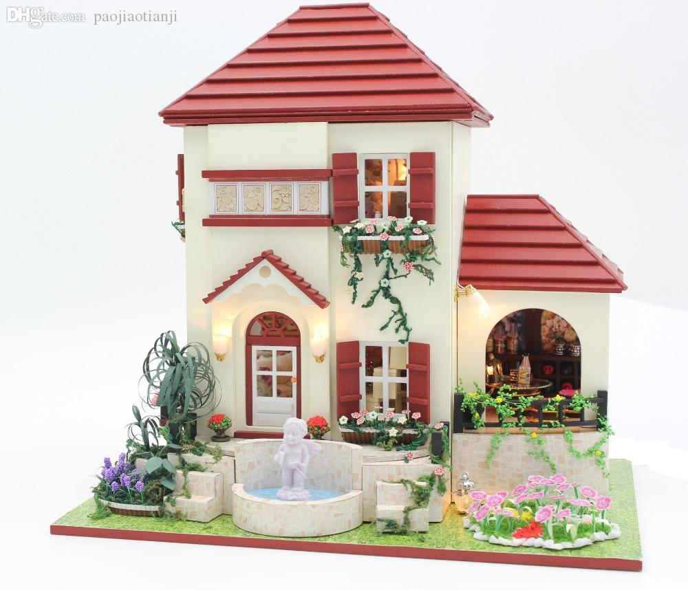 Wholesale Gesang flowers villa DIY Doll house 3D Miniature Cupid sculpture  Light  Wholesale Gesang Flowers. Wholesale Barbie Dolls Cottage