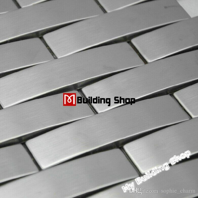 Arched metal mosaic wall tile backsplash SMMT063 silver brushed stainless  steel mosaics 3D mosaic glass tiles