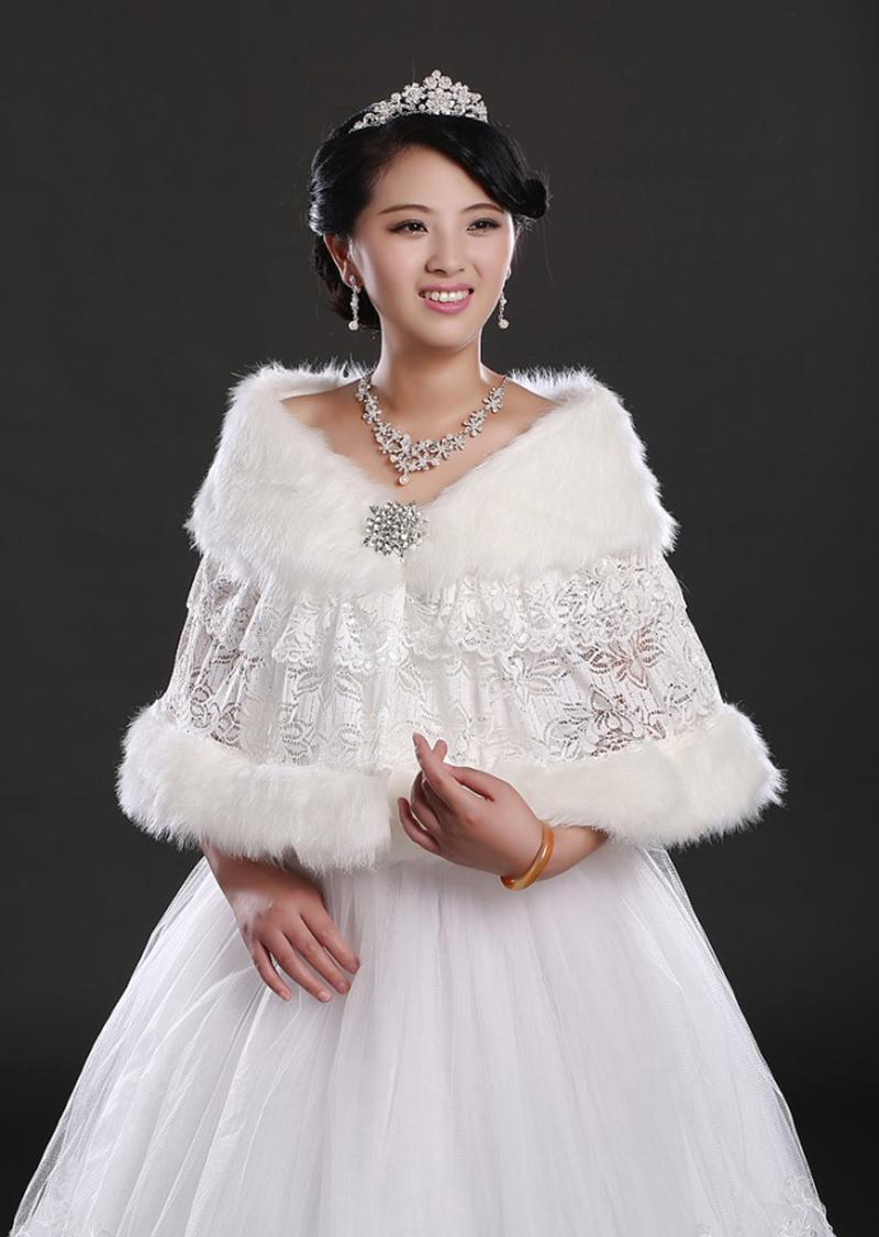 2017 wedding dress shawl lace embroidery wrap faux fur for Winter shawls for wedding dresses