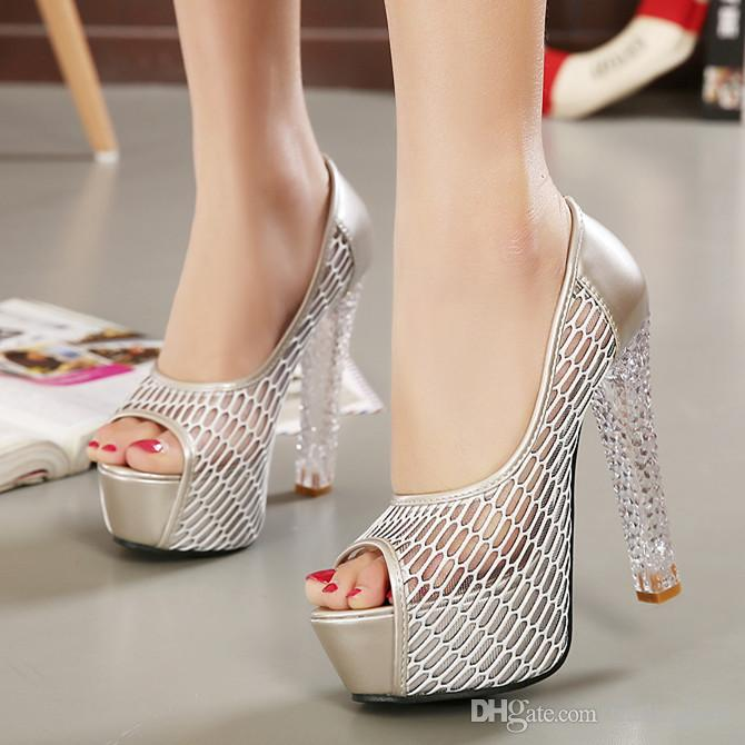 2015 2016 sexy silver crystal heels wedding shoes designer shoes women high heels peep toe summer shoes size 34 to 39 shoes women high heels bridal shoes