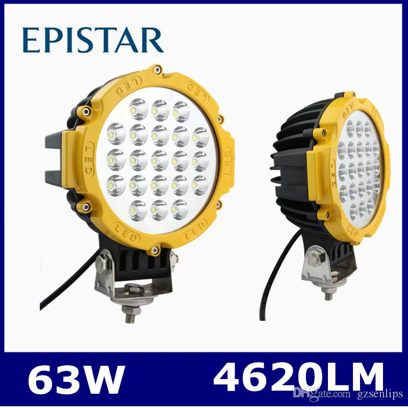 Off Road Light Bulbs: 6.3inch 63W Epistar Yellow led work light bulbs FOR Off Road JEEP Headlight  Spotlights Round,Lighting