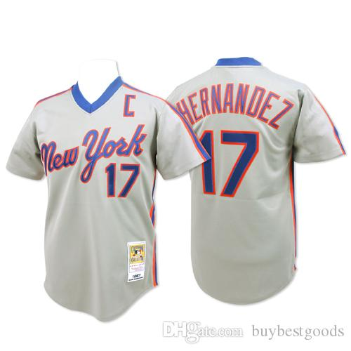 Baseball Jerseys New York Mets 1986 MN Throwback maillots #17 Keith Hernandez Wh
