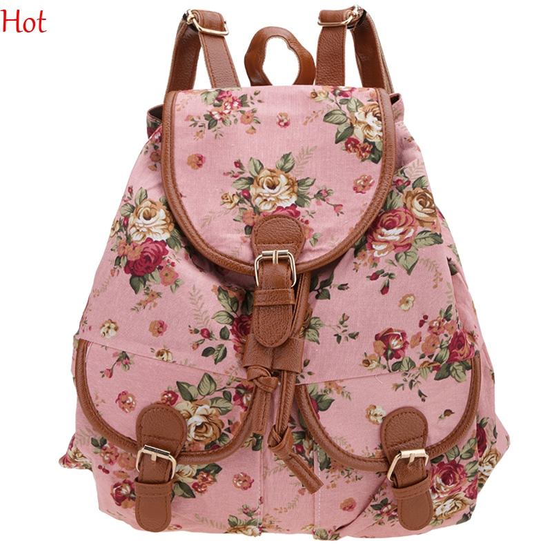 Casual Cute Fashion Backpacks Girl Lady Womens Canvas Bags Travel Satchel Shoulder Bag Floral Printed Backpack School Bags Rucksack SV012186
