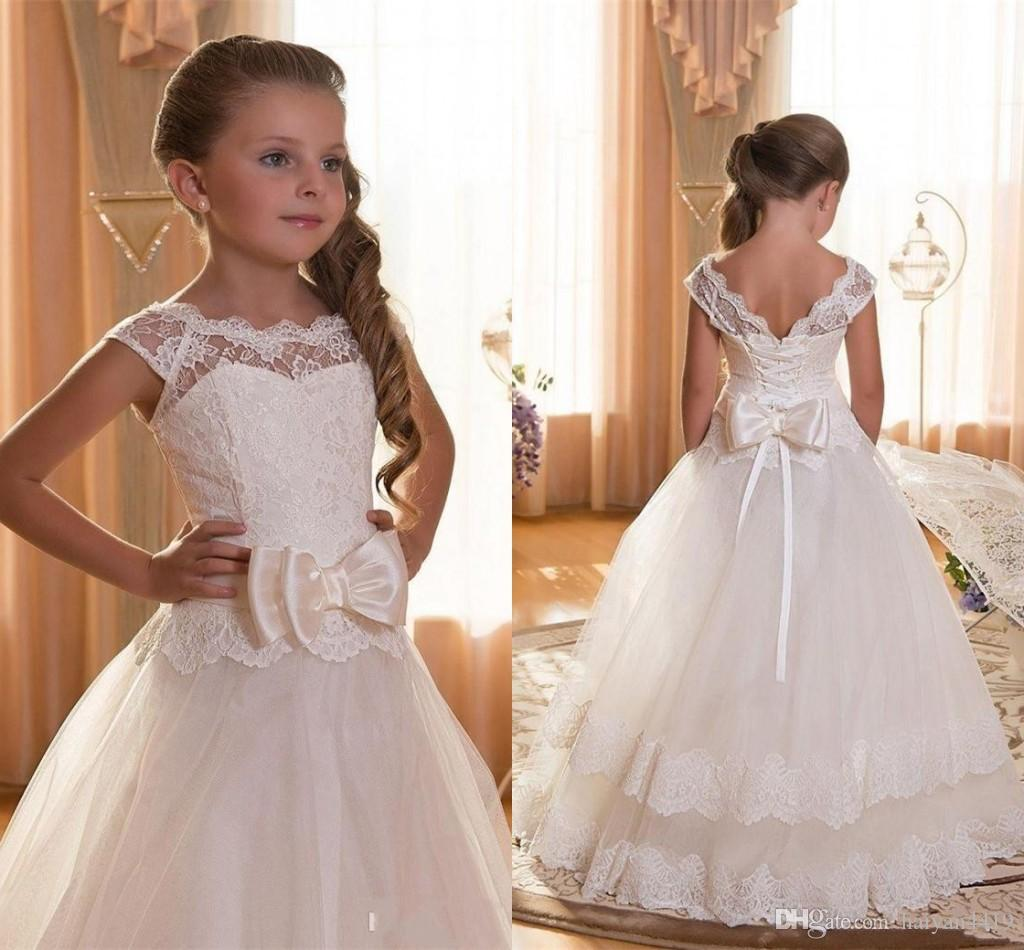 2016 New Cheap Flower Girls Dresses For Wedding Ivory White Lace Illusion Nec