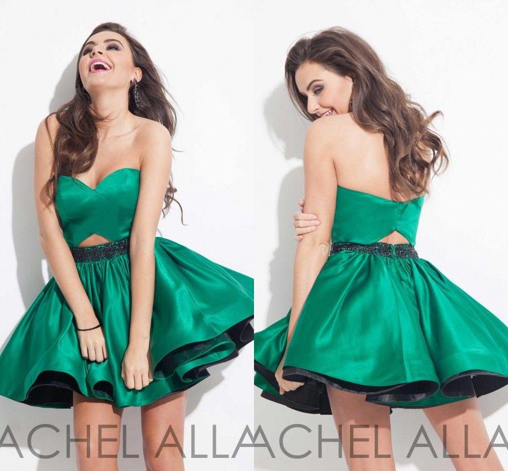 2015 Graduation Dresses Rachel Allan Designer Hunter Green Short ...