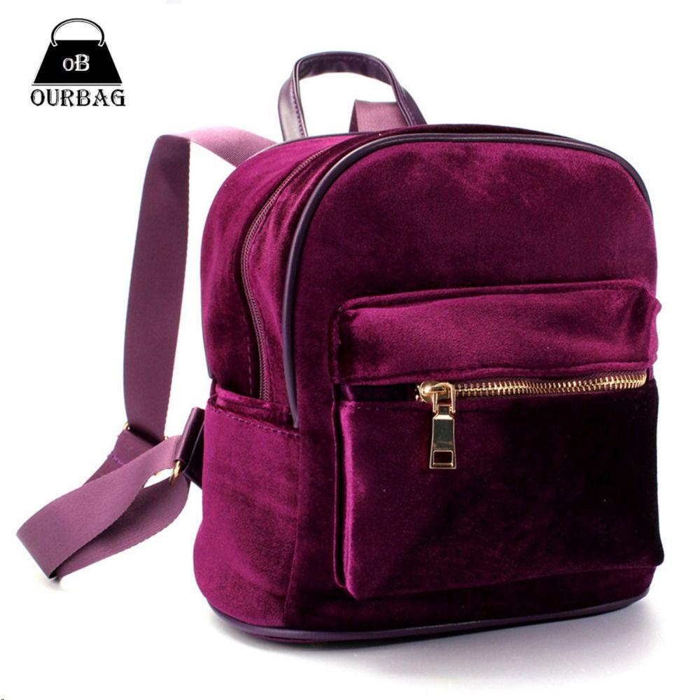 Fashion Women Cute Backpacks Velvet Casual Style Retro Backapck ...