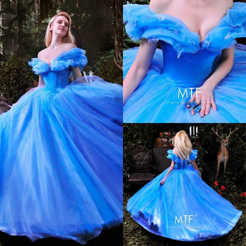 gorgeous blue off shoulder cinderella lace prom dresses