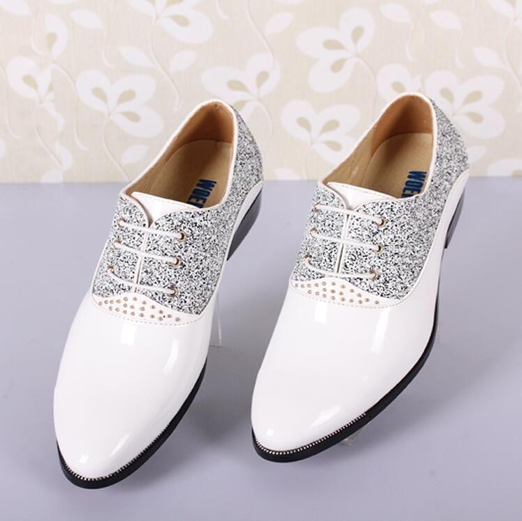 New Fashion MenS Wedding Shoes Mens Pointed Design Leather Shoes Unique Men Casual Shoes Bridal