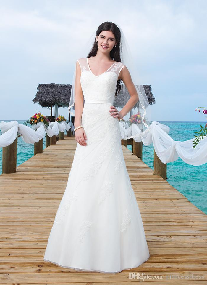 Cheap 2015 Wedding Dresses V Neck Sheer Straps Button Back Sleeveless Floor Length With Applique
