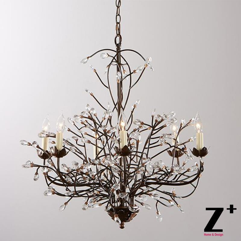 Tree Branch Chandelier 6 Arm Aged Brass Finish Country