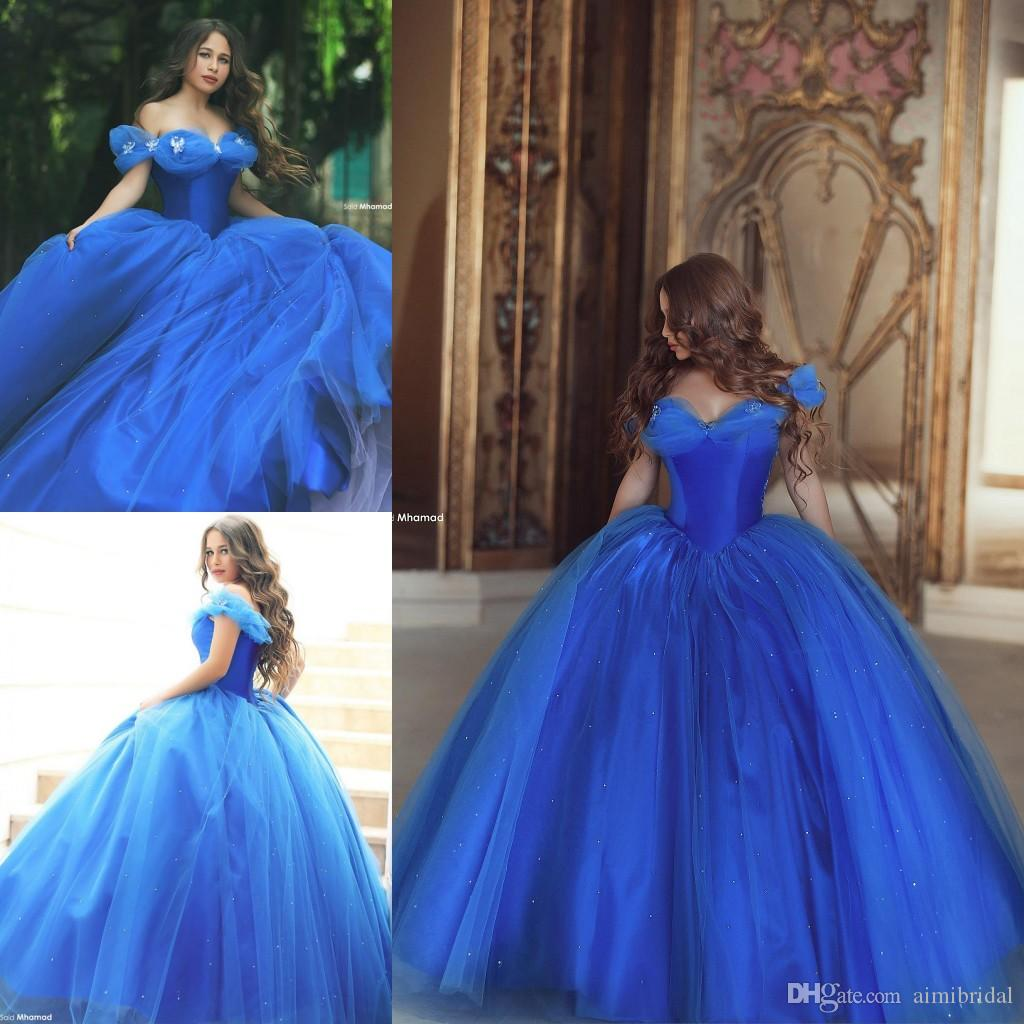 Dramatic Cinderella Quinceanera Ball Gown Dresses 2017 Royal Blue ...
