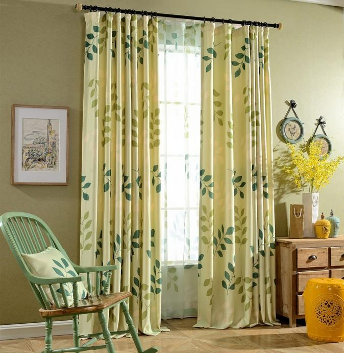 green leaves printed living room window curtain semi blackout curtains
