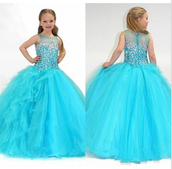Beaded Little Girls Pageant Dresses Red Green Flower Girl Dresses ...