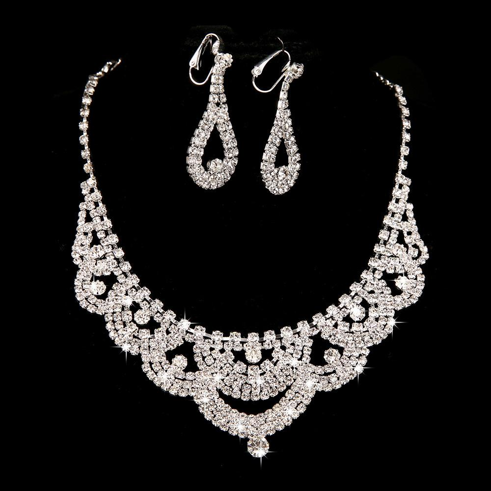 2015 Bridal Necklace Earring Sets Chain New Piece Of Highgrade Diamond  Jewelry Cheap Price 2015 Wedding Jewelry Bridal Jewelry Set 2015 Fashion  Bridal