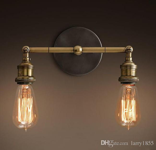 Nordic Loft Vintage Lustre Edison Double Wall Sconce Lamps Industrial Bathroom Bar Mirror Bedside Home Decor