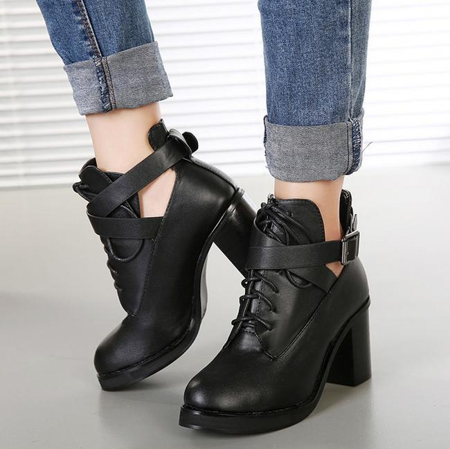 Korea Stylish Thick Heels Martin Boots for Women Ladies Ankle ...