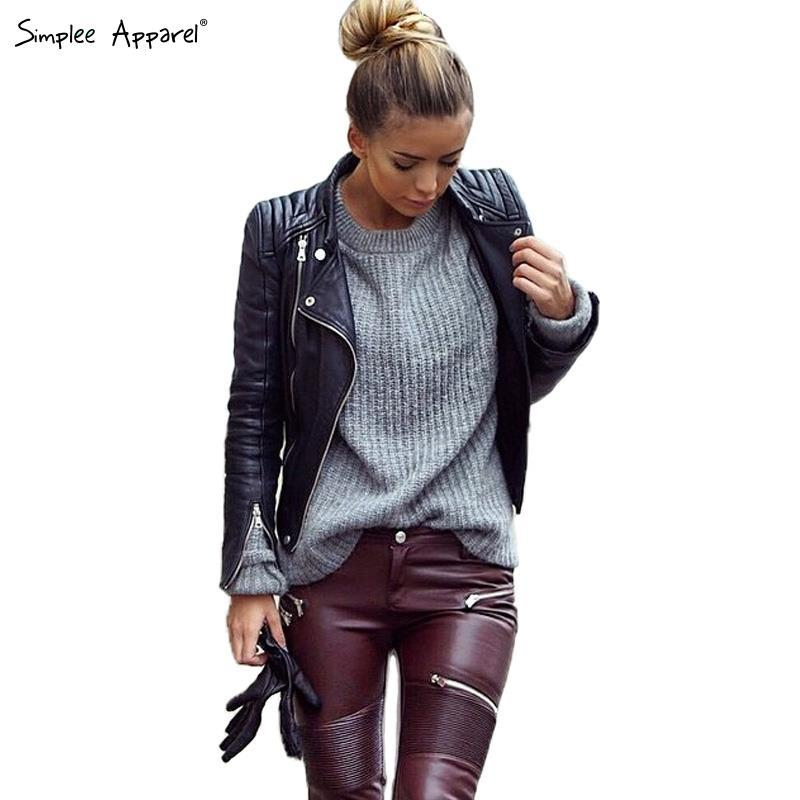 Simplee Apparel Black Leather Jackets Women with Zipper Autumn ...