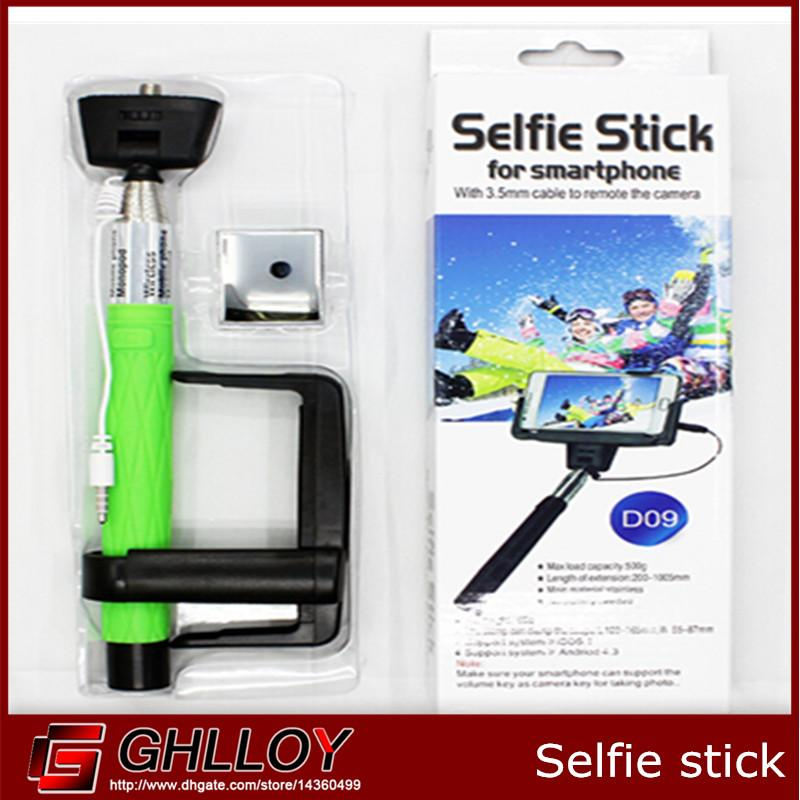 2017 d09 selfie stick with cable to remote the camera for smartphone ip. Black Bedroom Furniture Sets. Home Design Ideas