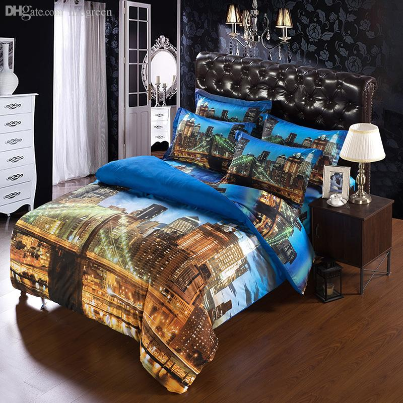 Wholesale set modern unique city duvet cover super king for Contemporary super king bed