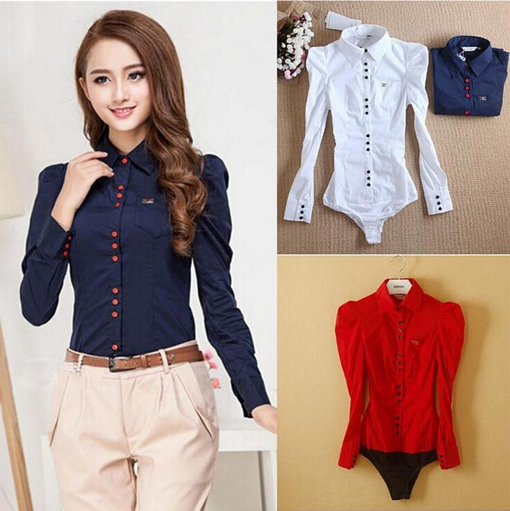 Fashion Body Shirts for Women Long Sleeve White Formal Blouses ...