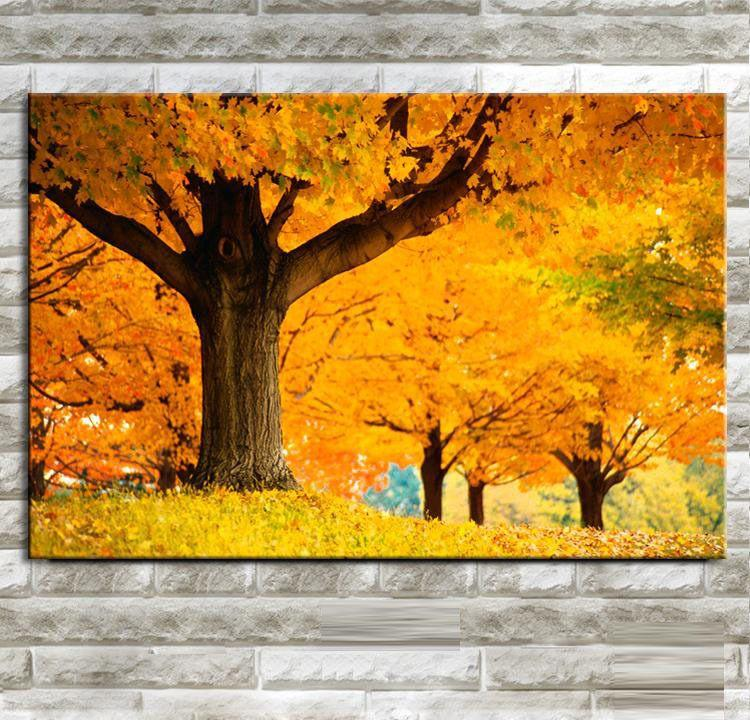 Autumn Gold Maple Tree Painting Modern Wall Painting Home Decorative Art Wall Oil Paintings Picture Canvas