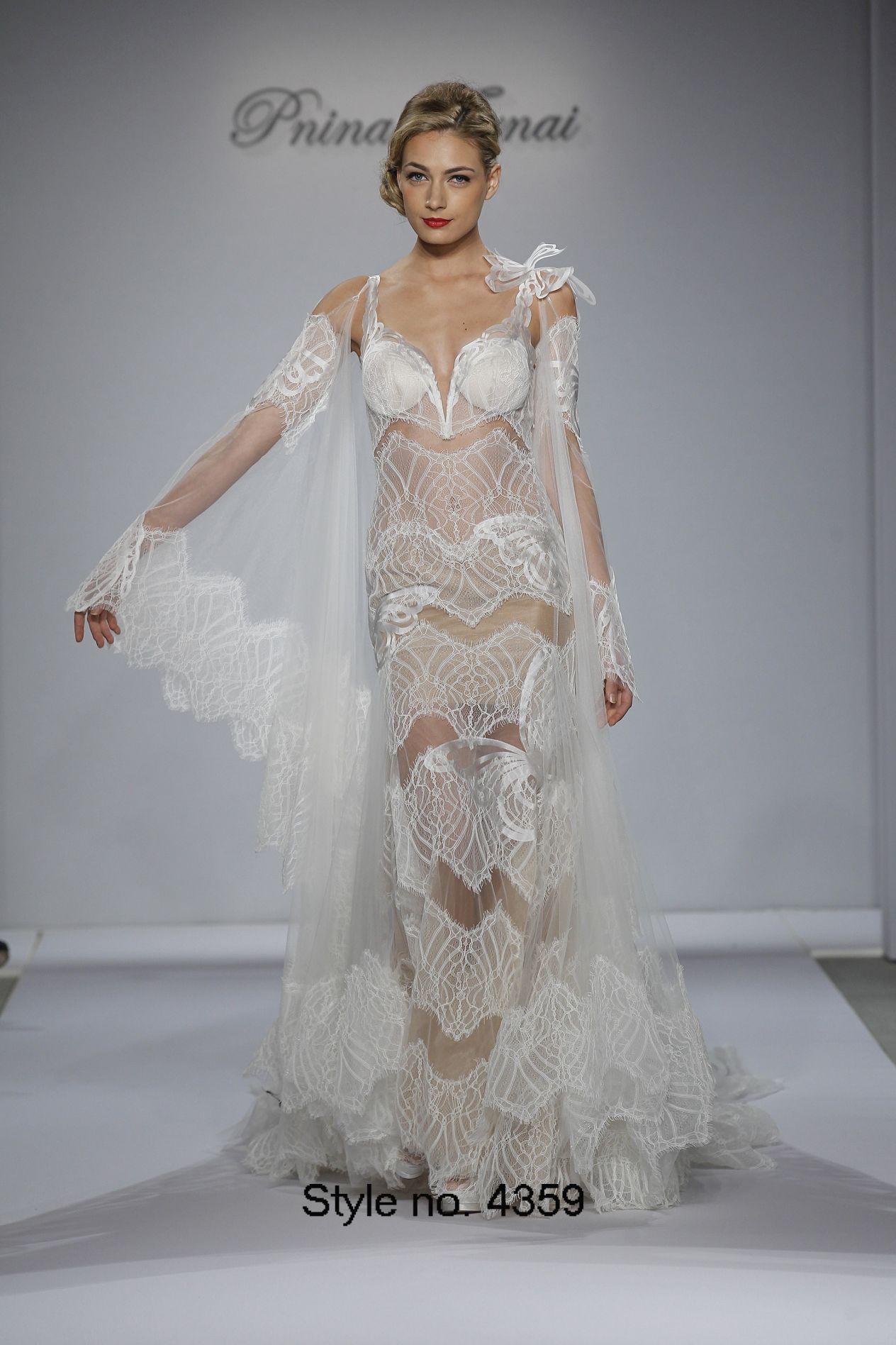 Pnina Tornai 2015 Mermaid See Through Wedding Dresses Lace