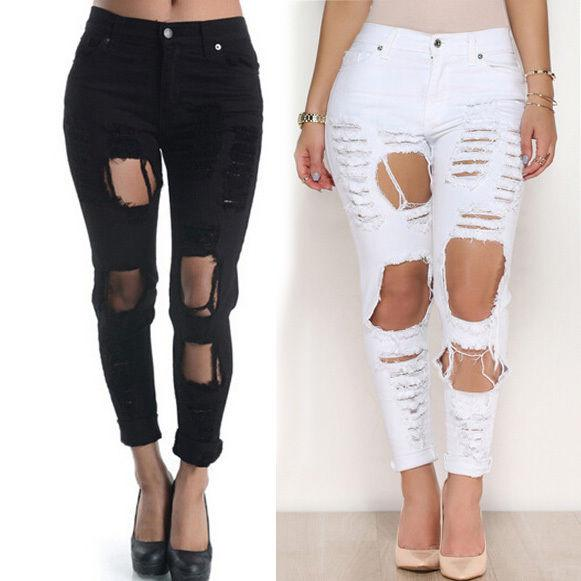 2017 Black White Women Hole Pants Boyfriend Jeans Long Trousers ...