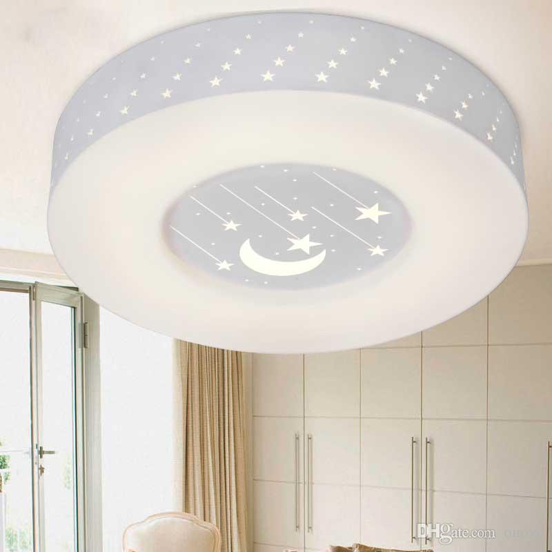 Modern Led Bedroom Ceiling Lamp Moon Stars Acrylic Panel