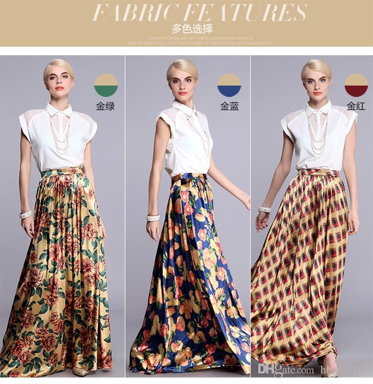 2017 2015 Summer Women'S Maxi Skirts Chiffon Floral Plus Size ...