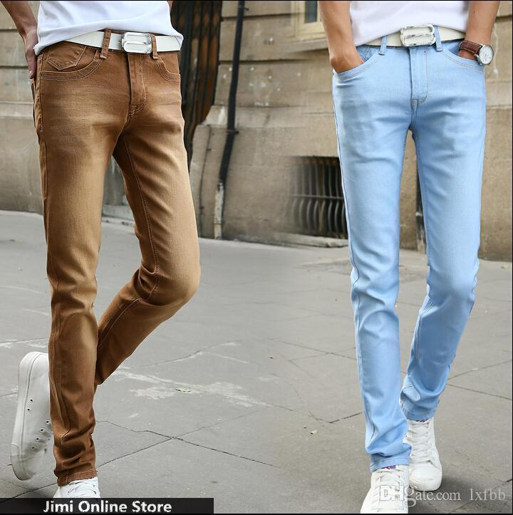 Buy Many Color Jeans Men 2016 Mens Jeans Elastic Waist Skinny