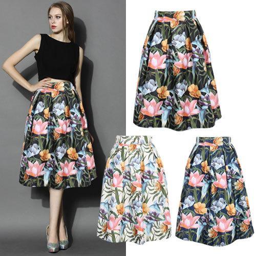 2017 Vintage Women Floral Printed Skirt New Fashion 2015 Autumn ...