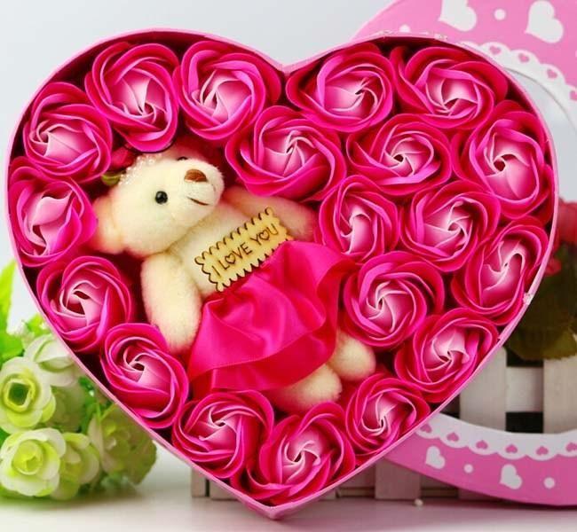 newest rosebear soap flowers heart shape made rose petals, Natural flower