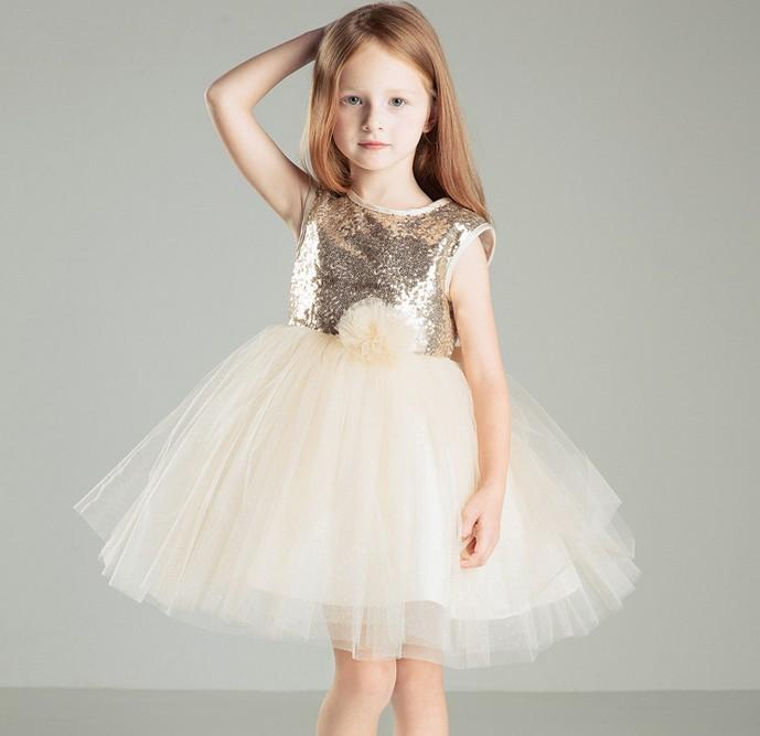 2016 Summer Baby Dresses Elegant Girls Paillette Gauze