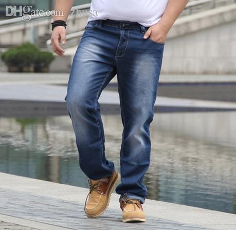 Wholesale-large Size Men Jeans Sizes 38 40 42 44 46 Bleached Blue ...