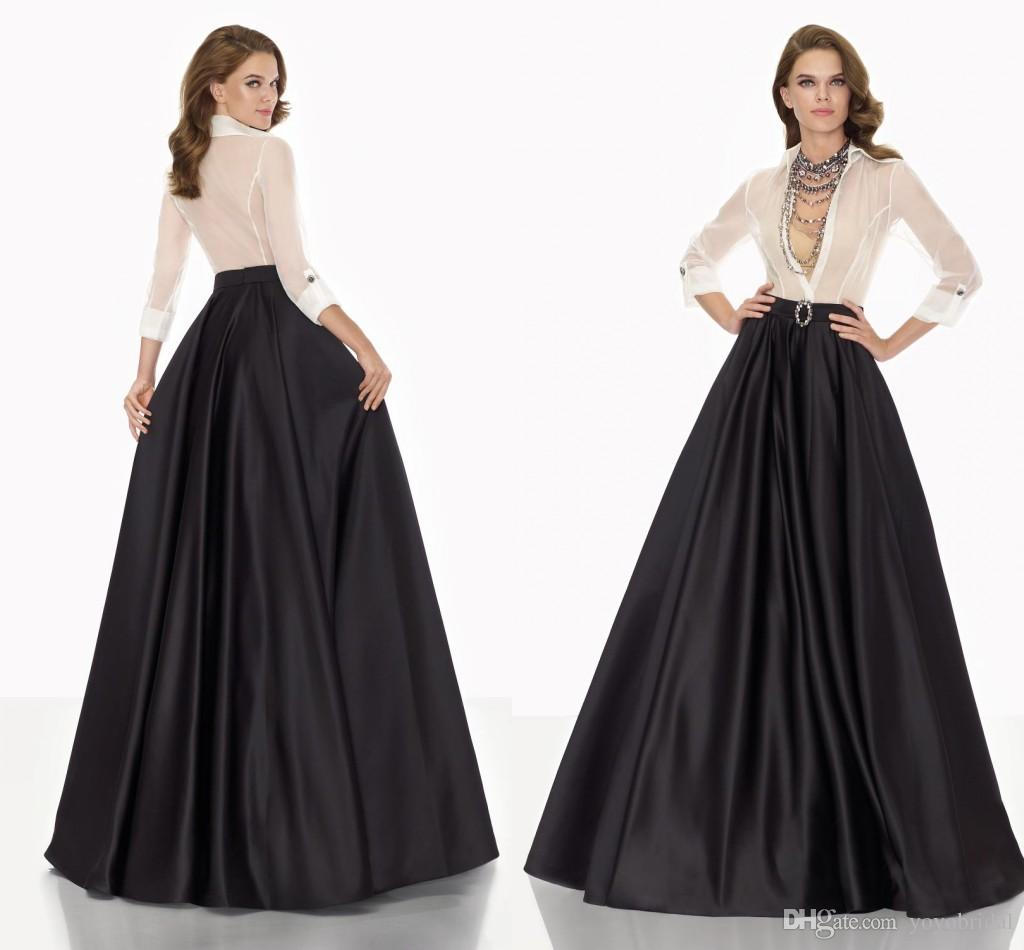 Black And White Mother f Bride Dresses 2016 Long Sleeve