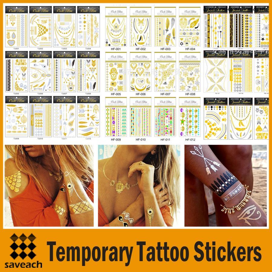 Gold silver metalic temporary tattoos sticker tree love for Custom temporary tattoos no minimum