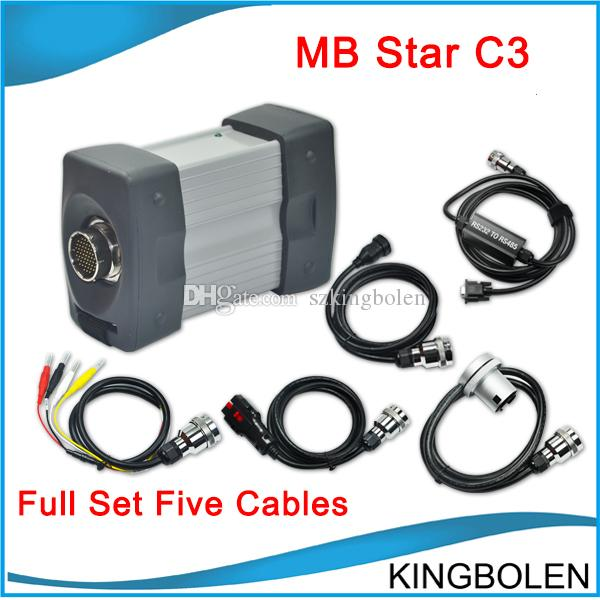 Promotion MB Star C3 full set five cables Newest 2014.12 DAS Xentry Software for Mercedes-BENZ Multi-language DHL Free Shipping