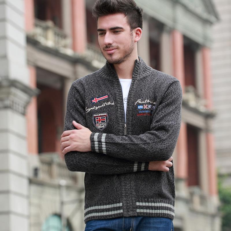 Fashion Men Sweaters 4 Colors Stand Collar Cardigan Long Sleeve