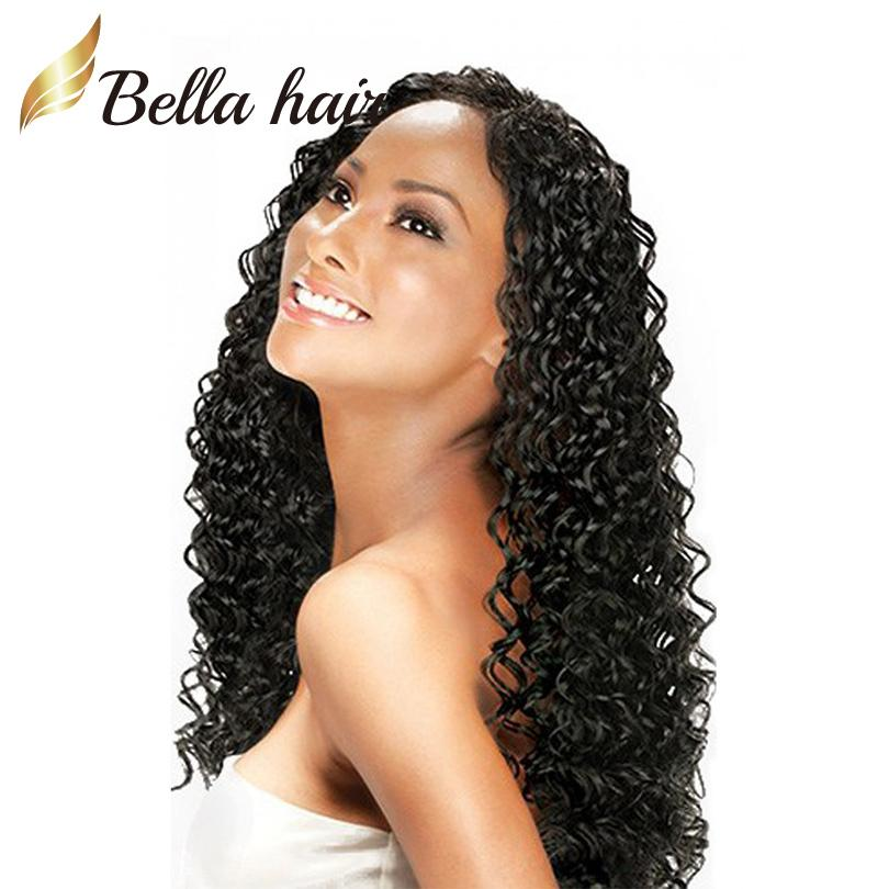 100% Brazilian Hair Full Lace Wig Deep Wave Wavy Natural Black Color Top Quality Brazilian Remy Hair Wigs Bella Hair
