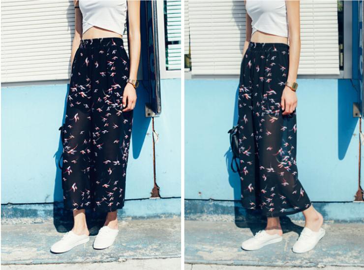 2015 Summer Style Women Pants Casual High Waist Birds Printed Long ...