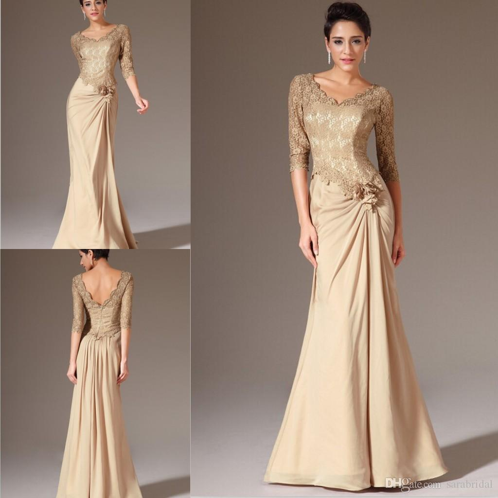 2014 Lace Mother Of The Bride Dresses Champagne Gold Half