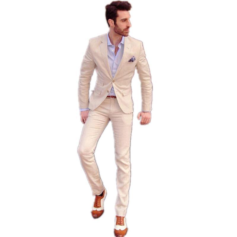 2016 Ivory Groom Tuxedos Business Single-breasted Best Man Slim ...