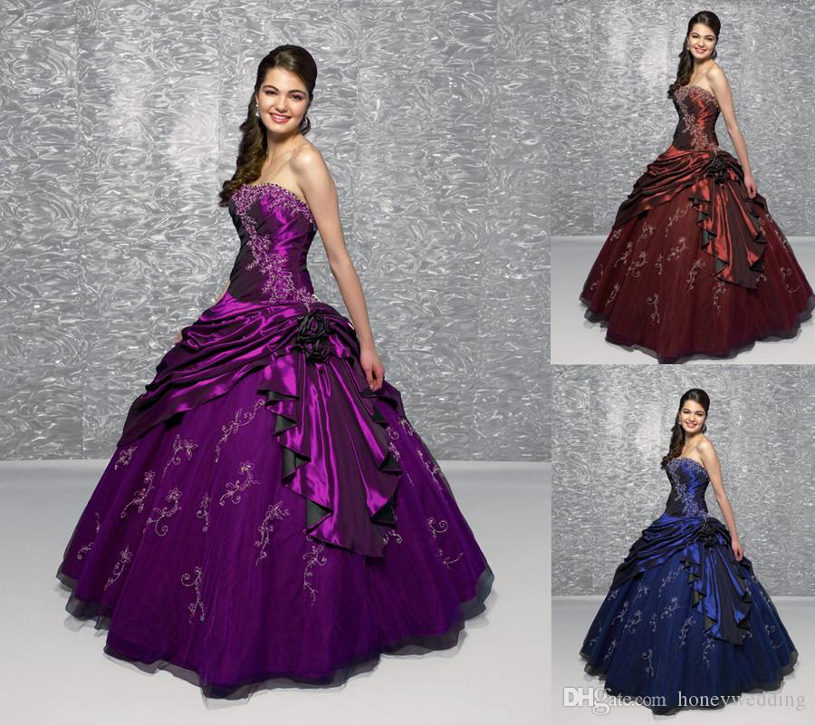 Off The Rack Cheap Quinceanera Dresses 2015 Strapless Purple ...