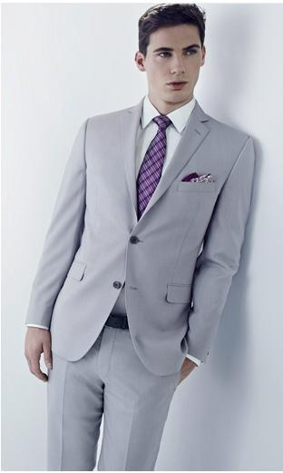 Light Grey Men Suits For Wedding Black Notched Lapel Grooms