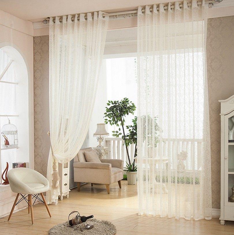 Customer Made Curtains White Jacquard Semi Sheer Living Room ...