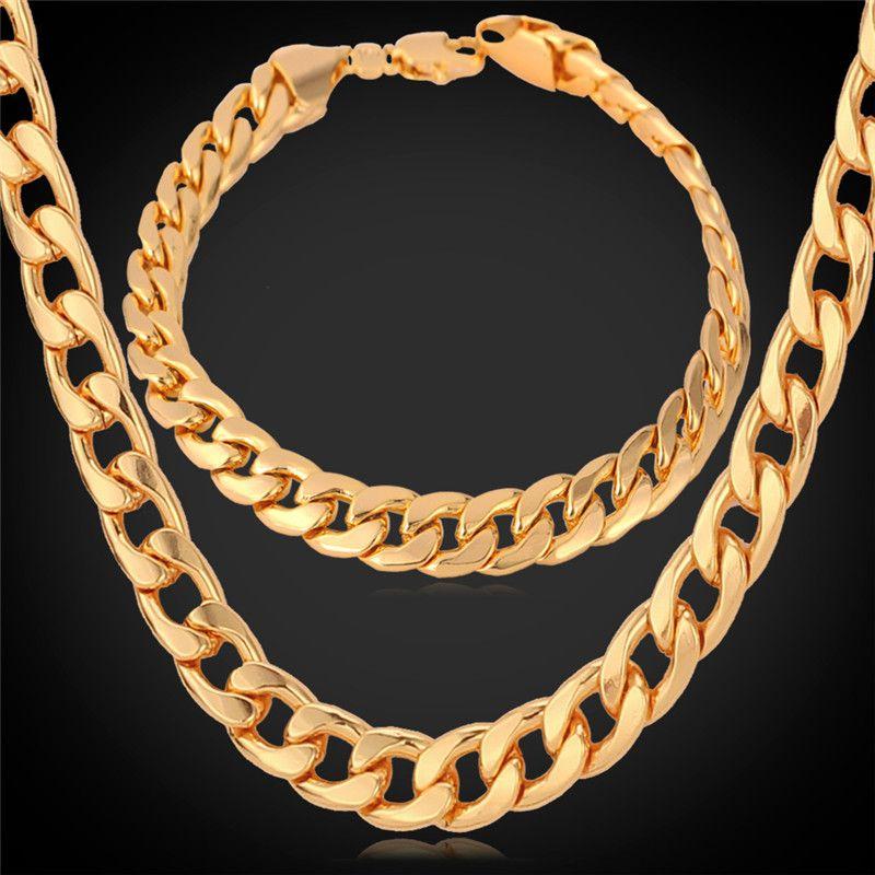 Cuban Chain Platinum: 2017 U7 Classic Cuban Link Chain Necklace Bracelet Set 18k