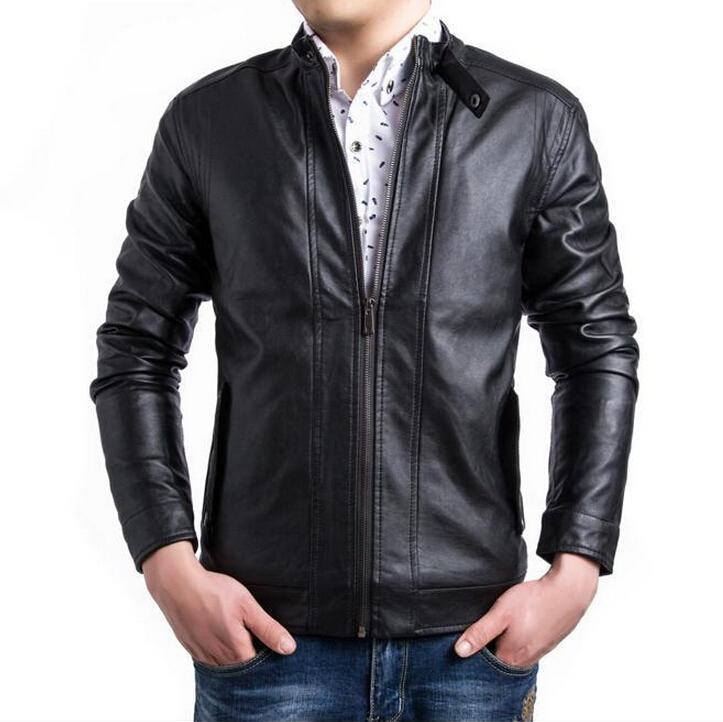 Leather Jacket for Men Brown Black 2015 Autumn Winter Casual Slim ...